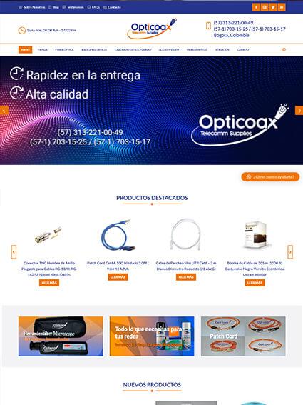 Web tipo catálogo de productos - Empresa Opticoax