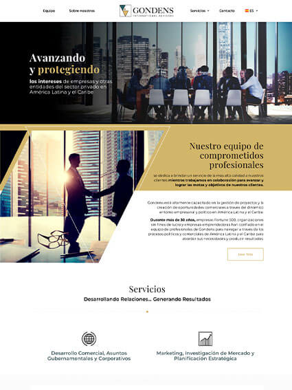 Diseño de sitio web corporativo para la empresa Gondens