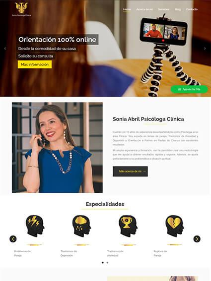 Diseño sitio web corporativo Sonia Psicóloga